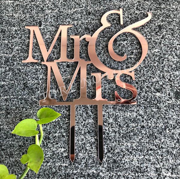 Akrilik Ayna Gül Altın için Mr Mrs Düğün Pastası Topper Nişan / Düğün / Gelin Duş Parti Dekorasyon Kek Dekorasyon