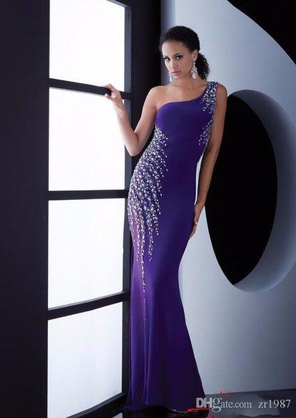 Purple Long Formal Evening Dresses 2018 Mermaid Robe De Soiree Custom Made One-shoulder Same As Picture Beaded Rhinestones