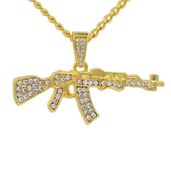 Fashion Cool AK47 Gun Shaped Pendant Necklace Hip Hop Rhinestone Gold Silver Color Alloy Weapon Guns Men Women Pendant Necklace