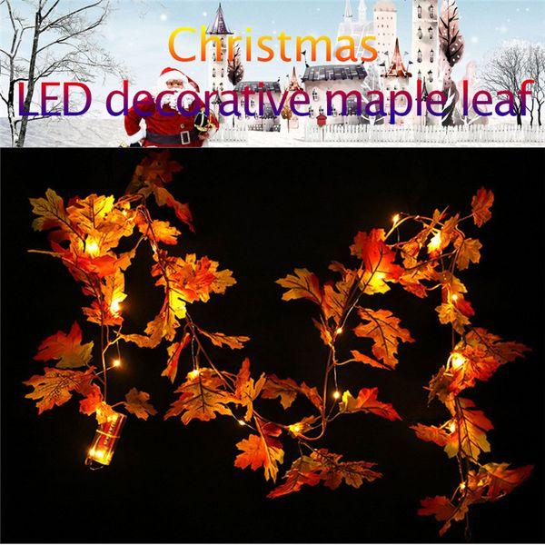 1.8M LED Lighted Fall Autumn Pumpkin Maple Leaves Garland Thanksgiving Decor