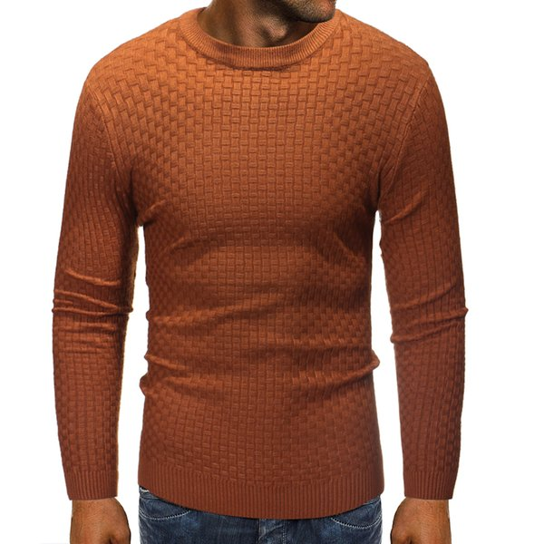 Men'S Sweater Pullover 2018 Male Brand Casual Slim Slub knit Sweaters Men High-Quality Solid Color Hedging O-Neck Sweater