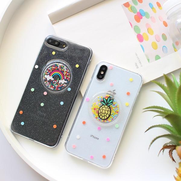 Cute Pineapple Rainbow Transparent Phone Case For iPhone X 6 6S 7 8 Plus Cases Silicone Tpu Soft Luxury Cover Coque Funda