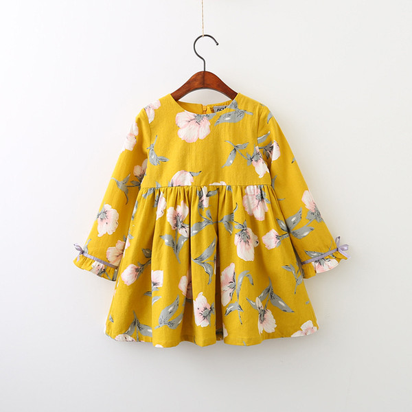 2 couleurs bébé fille ins fleurs robe 2018 nouveaux enfants mode jaune bleu dessin animé fleurs modèle manches longues robes bébé fille vêtements