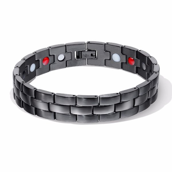 Nice Quality Health Power Bracelet For Men Black Negative Ion Far Infrared Titanium Magnetic Therapy Bracelets Magnet Jewelry