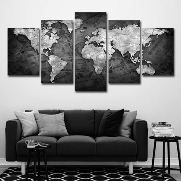 5PCS Canvas HD Prints Paintings Home Decor Living Room 5 Pieces World Map Black And White Pictures Modular Wall Art Islamic Poster Framework