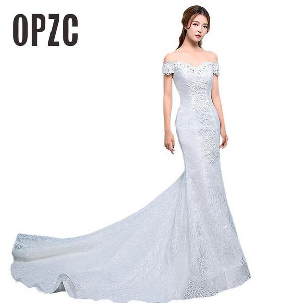 Real Photo Sexy Mermaid Train Wedding Dress 2017 New Style Korean Smiple Lace Crystal Fishtail Bride Princess estidos de noiva