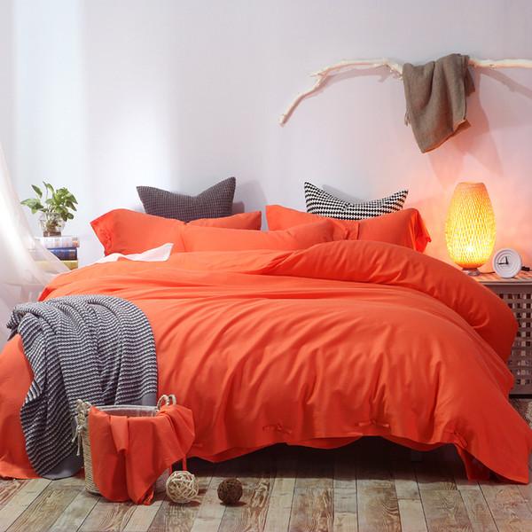 Cotton and Linen soft bed sheet 4pcs bright solid color plain Orange bedding sets Double 200cm King 240cm duvet covers bedlinen