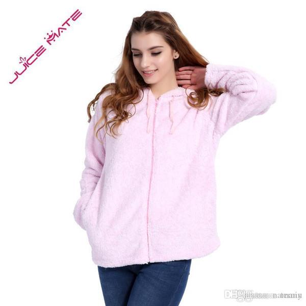 de4fdc7f099 Wholesale- Women Girls Plus Size Snuggle Fleece Blouse Zip Fluffy Warm  Hooded Sweatshirt Hoodie Ladies Loose Sweatshirt Jacket With Hood