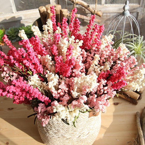 7 Heads PE Artificial Lavender Flowers Bouquet for Home Wedding Garden Decoration Festival Decorative Flowers 43cm