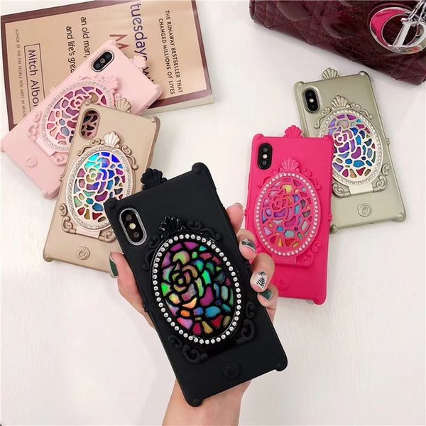 top popular New Beautiful and Look in the mirror Magic mirror Case Cover For iPhone X Phone Shell For iPhone 8 7 6 5 Plus 2019