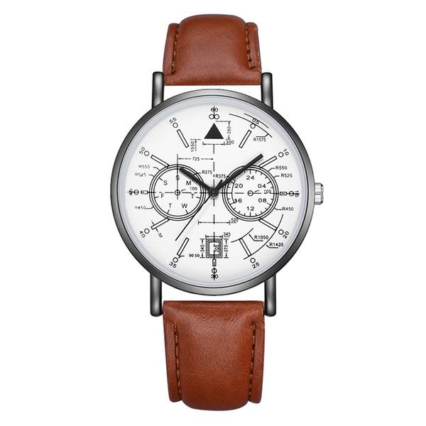 Nuevo reloj correa de cuero de la PU de cuarzo relojes de lujo para hombre diseño especial de la señora de la matemática reloj deportivo reloj regalos Montre reloj