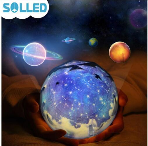 Starry Sky Magic Star Moon Planet Rotating Projector Lamp LED Night Light Cosmos Universe Luminaria Baby Light For New Year Gift