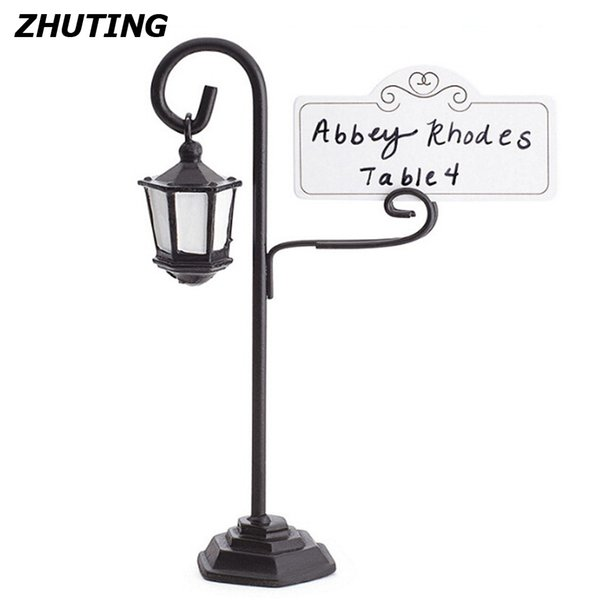 Número de mesa de lâmpada de rua titular número de mesa memorando clipe decoração de mesa de casamento