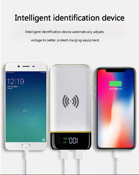 2018 fast chargeCarregamento sem fio Power Bank 20000 mAh Bateria Externa Portátil Carregador de Telefone Móvel Universal 2 USB Powerbank para Telefones Ta