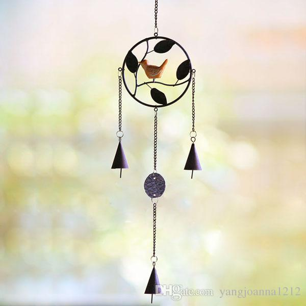 Wholesale Iron Bird Wind Chimes With Metal Bell For Cafes Shops Garden Outside Wall Decoration American Village Free Shipping