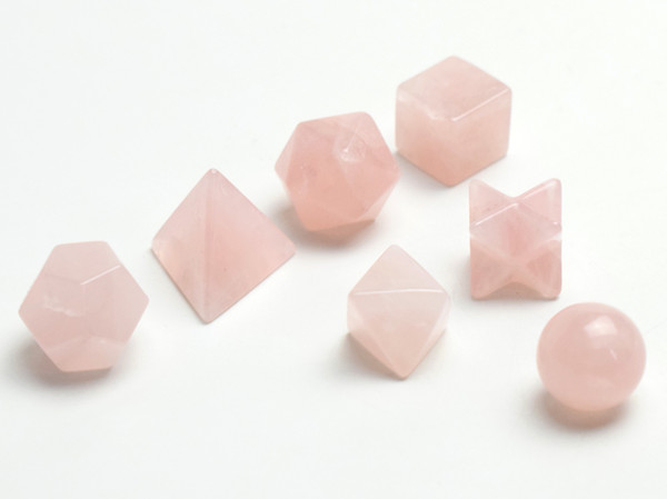 Natural Chakra Rose Quartz Carved Crystal Healing Platonic Solids Sacred Geometry Symbols with Merkaba Star