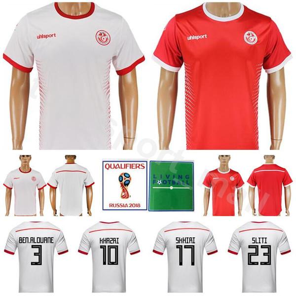 0cdc9c384 World Cup 2018 Tunisia Jersey Men Soccer 10 Wahbi Khazri 23 Naim Sliti Football  Shirt Kits National Team 7 Youssef Msakni 7 Ahmed Akaichi