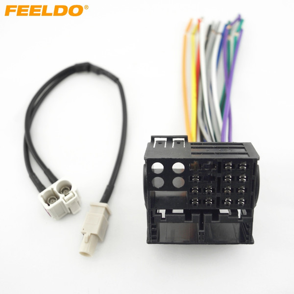FEELDO FAKRA Y Spliter Ile Araba Stereo Kafa Ünitesi Kablo Demeti (1Jack 2Plug) Audi / BWM / Volkswagen / Mini / Dodge Fabrika OEM Radyo # 3184