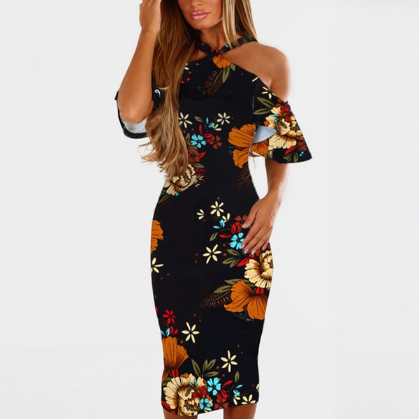 X Summer Floral Print Beach Dresses Woman 2018 Ruffles Off Shoulder Midi Dress Halter Short Sleeve Bodycon Sundress Vestidos Mujer