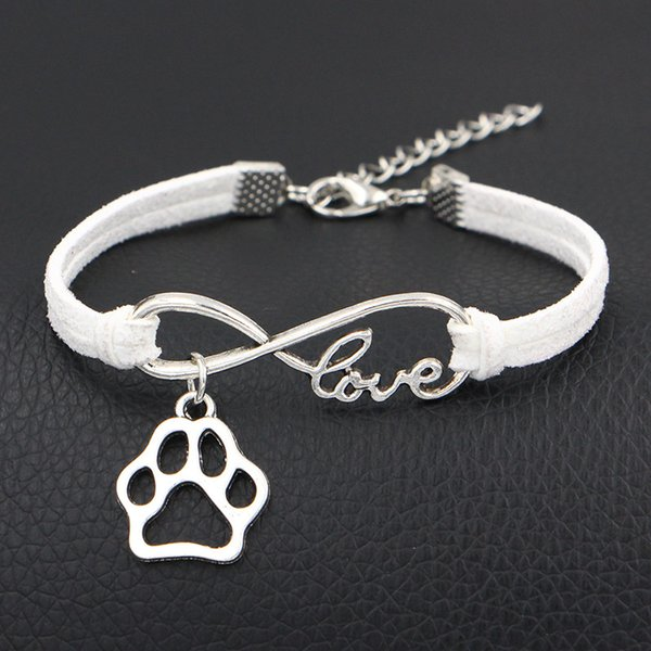 Hot New Infinity Love Dog Claw Paw Jewelry Punk White Braided Leather Rope Bracelet for Women Men Lobster buckle Clasp Fashion Bangles Gifts