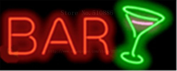 """Bar with Cocktail Glass NEON SIGN REAL GLASS BEER BAR PUB LIGHT SIGNS store display Bulbs drink Advertising Lights 17*14"""""""