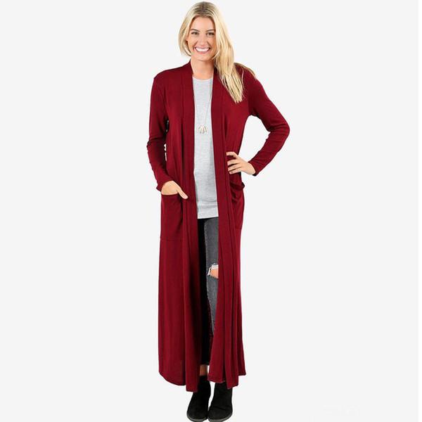 Suéter de las mujeres de longitud completa Maxi Cardigan Casual Open frontal sólido de manga larga abrigo de bolsillo ropa de invierno cardigan damas