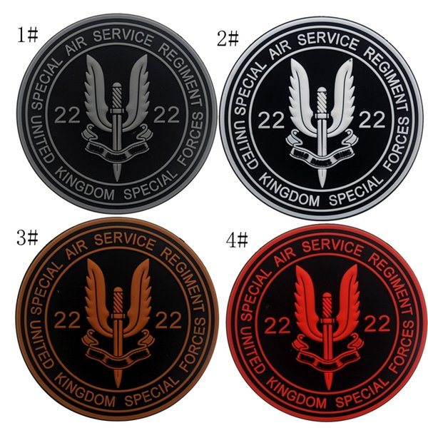 18VP-42 Wholesale Special Air Service PVC tactical Patches with magic tape UK 22 special forces rubber patch morle badges
