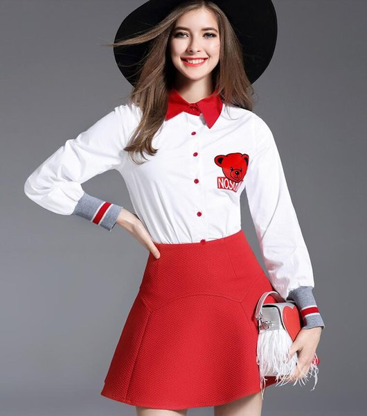 Spring Autumn Women Fashion Two Piece Sets Ladies Elegant White T Shirts Long Sleeve Blouses + Girls Red Denim Skirts One-step Skirts