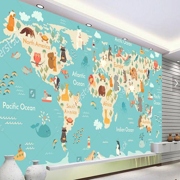 Compre Arkadi Fondo De Pantalla Personalizado Para Niños Dibujos Animados Murales Del Mapa Mundial Para La Sala De Estar Papel Pintado De La Pared De
