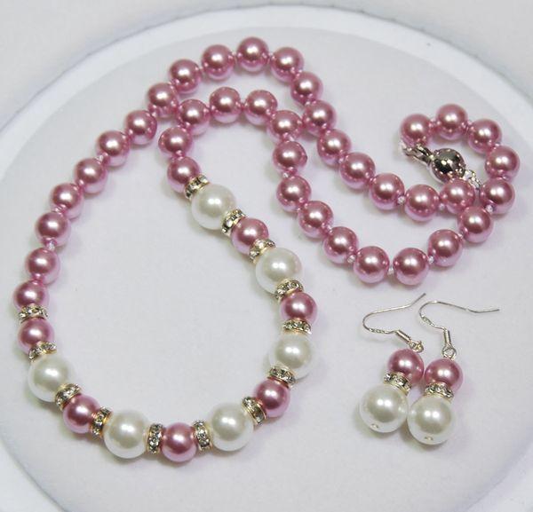 Fait à la main belle 3 styles 8x10mm perles noires / or / shell perles rondes collier 45cm boucles d'oreilles ensemble bijoux de mode