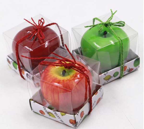 top popular Fruit Candles Apple Shaped Candle Scented Bougie Festival Atmosphere Romantic Party Decoration Christmas Eve New Year Decor Bougie SN1155 2021