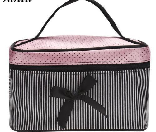 Kosmetiktasche Bowknot Dots Druck Satin Heißer Verkauf Make-Up Taschen Nette Streifen Mode Taschen Veranstalter Sac Maquillage # 9518