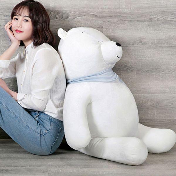 Dorimytrader Pop Cuddly Soft Animal Polar Bear Stuffed Doll Big Anime White Bears Toys Pillow for Children Valentine Gifts 39inch 100cm