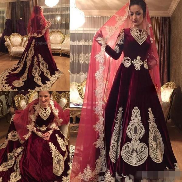 빈티지 Burdundy 벨벳 드레스 이슬람 웨딩 드레스 긴 소매 채플 기차 인도 스타일의 신부 가운 Vestidos 맞춤 제작 된 Appliques 비즈