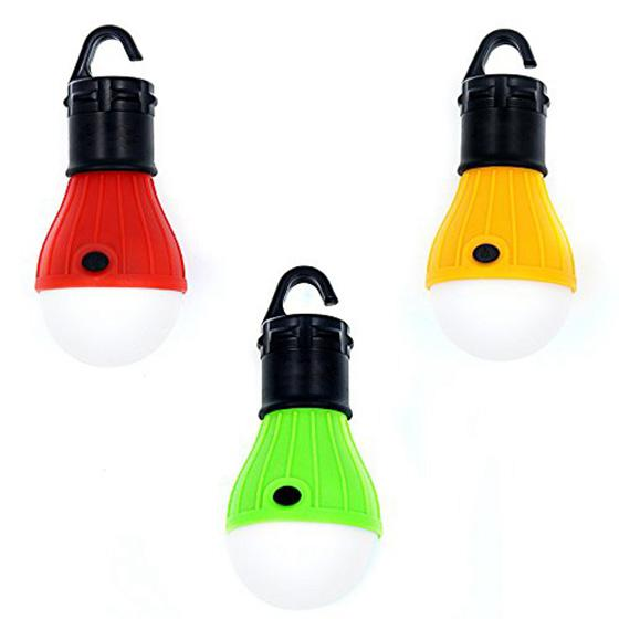 3Pack LED Tent Bulb Portable Lantern Emergency Night light for Camping, Hiking, Fishing, & Outdoor Lighting Red, Green, Yellow