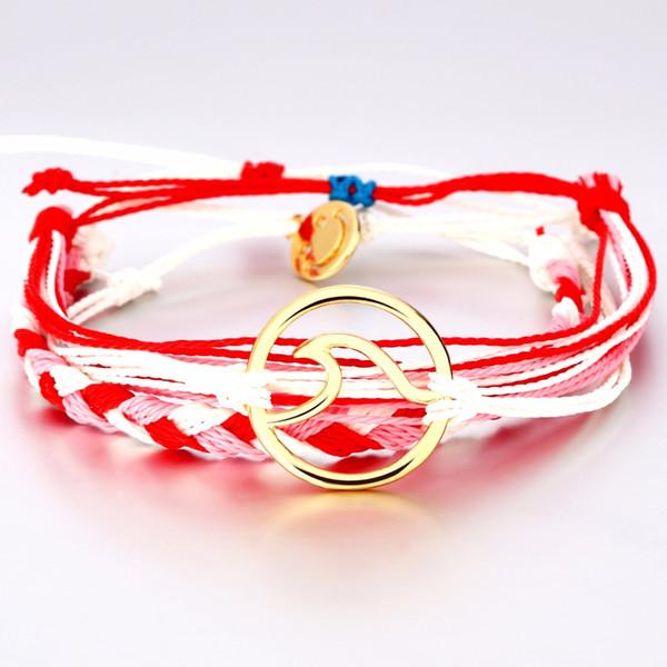 3pcs/set pink ribbon rope chain wave charm bracelets bangles adjustable braided weave boho bracelet for women