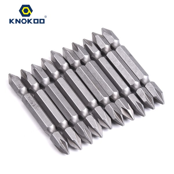 KNOKOO High Quality 10pcs/lot Double-Head 1/4*65*1# Screwdriver Drill Bit 65MM HEX Shank Magnetic Double Head Phillips Shaped Driver Bits