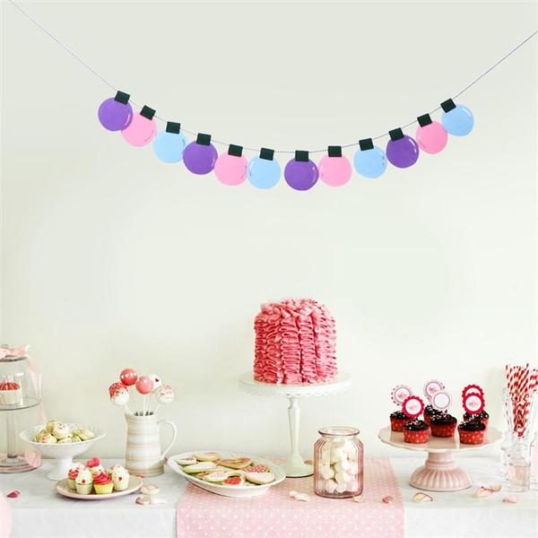 Guirlande de ficelle décorations colorées ampoule bannière Bunting pour anniversaire de mariage de Noël Baby Shower (violet / rose / bleu)