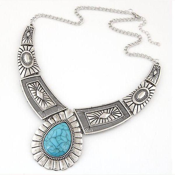 Wholesale Fashion New Design Maxi Necklace Vintage Gem Geometric Thread Statement Necklaces & Pendants For Women Collar XY-N12
