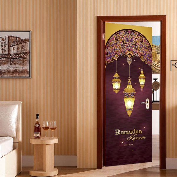 3D View 2Pcs/set Muslim Ramadan Door Stickers Islamic Personalized Removable Art Poster PVC Waterproof Wall Decal Bedroom Living Room Decor