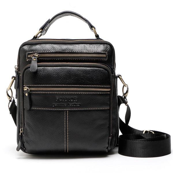Fashion 100% genuine leather men bag handbags business travel man shoulder bag casual cowhide messenger briefcase black