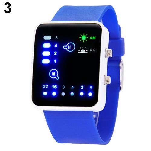 Populäre Mens-Frauen-binäre Zahl-blaue LED Armbanduhren-Silikon-Band-Quarz-Armbanduhr NO181 5V4Y smt 89