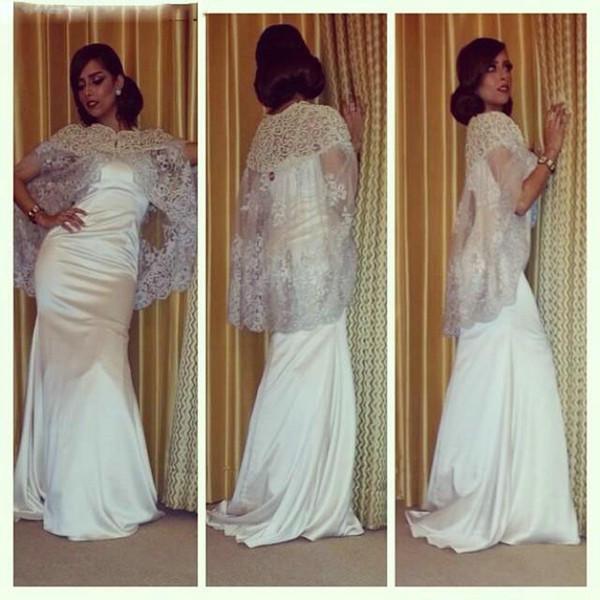 2018 Abendkleider Abiti da sera lunghi con pizzo bianco Jaclet Prom Dresses di promenade della sirena