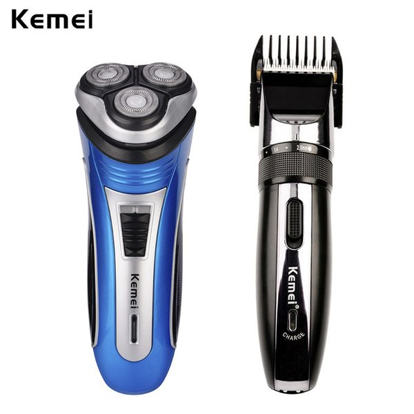 Kemei 3 Blades Men Electric Shaver Face Beard Shaving Travel Razor+Trimmer Professional Hair Clipper Adjustable Cordless Haircut