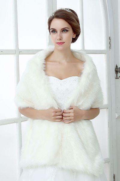 Fildişi Kış Ucuz Düğün Ceket Gelin Faux Kürk Sarar Sıcak Şal Kabanlar Kore Tarzı Kadınlar Balo Akşam Parti Düğün Parti Için CPA1496