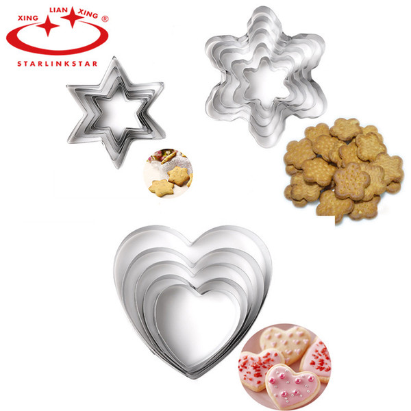 Wholesale- 5 pcs/set Cookie Mold Set Stainless Steel Star Heart Flower Shape Cake Making Mold Cookie Fondant Cutter Cake Decoration Mold