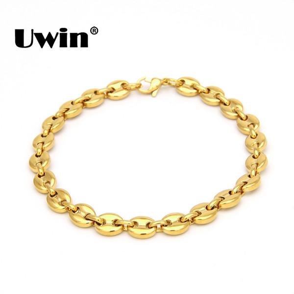 Uwin Edelstahl Armbänder Hohe Qualität PVD Versilbert / Gold Farbe 8mm 22,5 cm Kabel Gliederkette Armband Männer Schmuck Geschenk