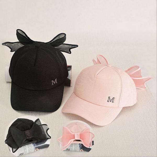 Doce meninas princesa bonés de beisebol Ajustável M Carta de Alta qualidade Rosa Preto chapéus de Sol Bonito gracioso Poliéster chapéu todo