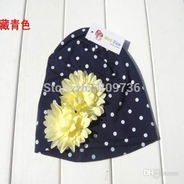 Gros-1 PC Hot Fashion Noël enfants chapeaux kintted chapeaux bébé avec de belles fleurs roses dot design crochet casquettes Drop Free