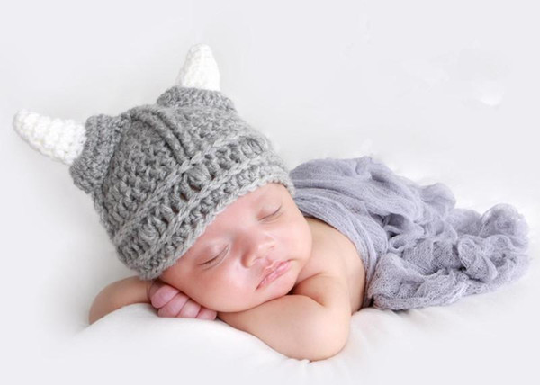 Fashion Newborn Cute Baby Photo Props Knitted Bull Horn Animal Hat Infant Phography Shoot Accessory PZ009